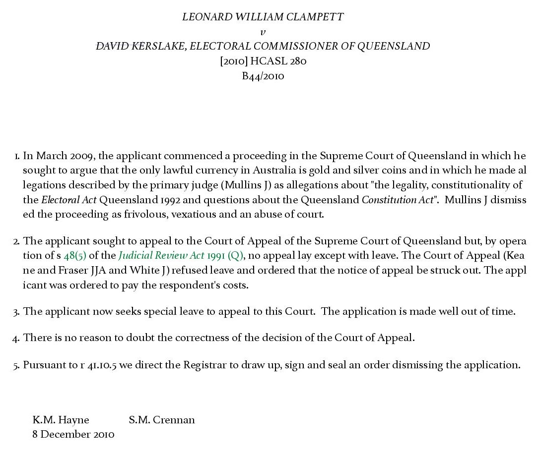 Leonard William Clampett v David Kerslake, Electoral Commissioner Of Queensland - BarNet Jade - BarNet Jade-page-001