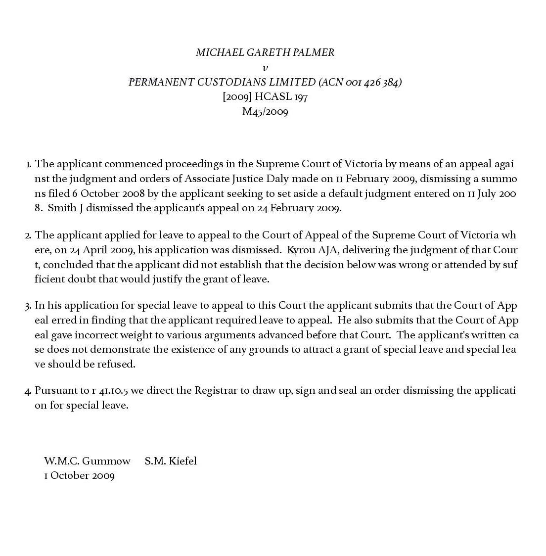 Michael Gareth Palmer v Permanent Custodians Limited (ACN 001 426 384) - BarNet Jade - BarNet Jade-page-001