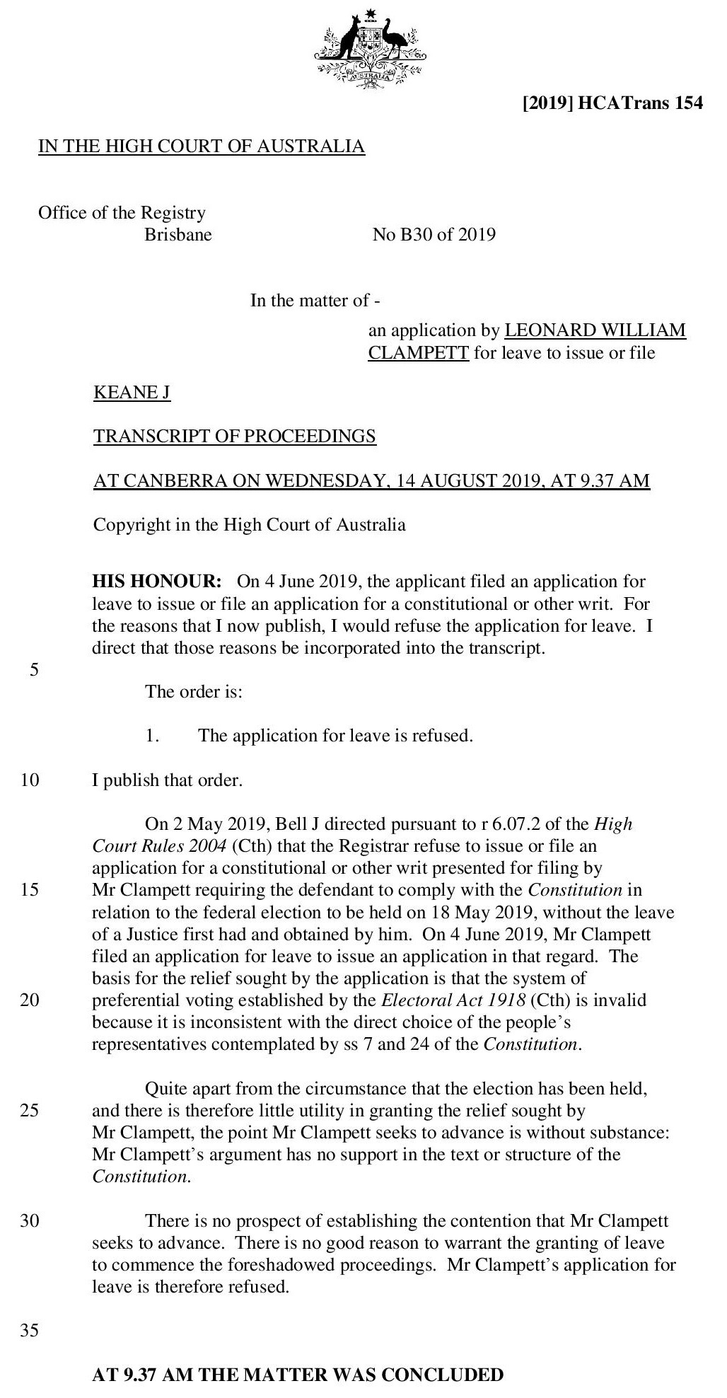 Clampett, In the matter of an application for leave to issue or file [2019] HCATrans 154-page-002