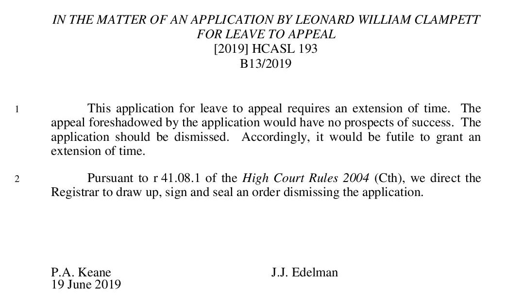 ITMO an application by Leonard William Clampett for leave to appeal (B13-2019) [2019] HCASL 193-page-001