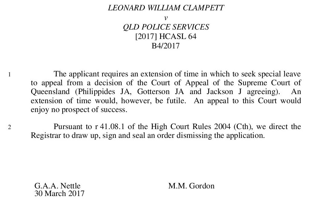 Leonard William Clampett v Qld Police Services [2017] HCASL 64-page-001